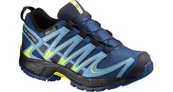 Salomon Junior XA Pro 3D CSWP Shoes Midnight Blue/Blue Gum/Corona Yello